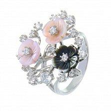 Серебряное кольцо Букет с розовым и черным перламутром и фианитами