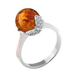 Кольцо из серебра с янтарем и фианитами 000062181