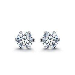 Серьги-пуссеты в белом золоте Sweet Love с бриллиантами, 0,4ct 000070500