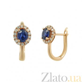 Золотые серьги с сапфирами и бриллиантами Теплое море 000026671