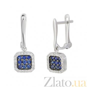 Золотые серьги с сапфирами и бриллиантами Флоренция 000032324