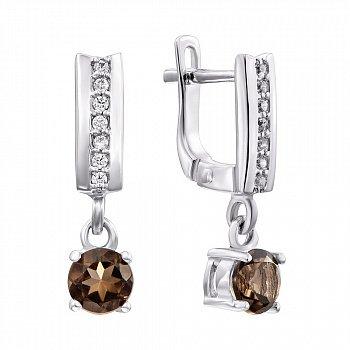 Серебряные серьги-подвески с раухтопазами и фианитами 000136771