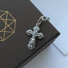 Крестик из серебра чернёный Вера моя