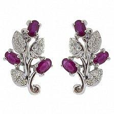 Серебряные сережки Бренда с рубинами и бриллиантами
