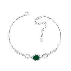 Серебряный браслет с зеленым агатом и фианитами 000133826