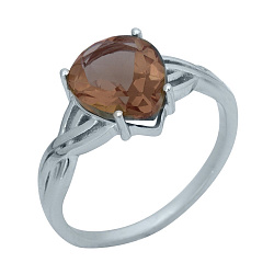 Серебряное кольцо Смиляна с узорной шинкой и корундом