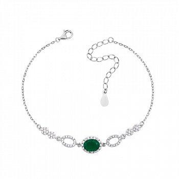 Срібний браслет із зеленим агатом і фіанітами 000133826
