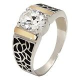 Серебряное кольцо с фианитами и золотой вставкой Юджиния