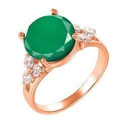 Кольцо из красного золота с зеленым агатом и фианитами 000134784