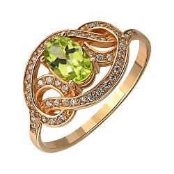 Кольцо из красного золота с хризолитом и фианитами 000135896