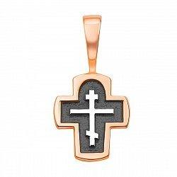 Серебряный крестик с позолотой и чернением 000136345