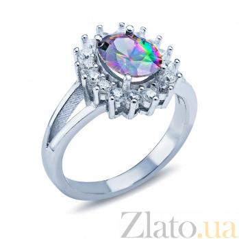 Серебряное кольцо Фиорентина с мистик топазом и фианитами AQA-Шк239МТ