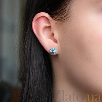 Серебряные серьги с голубым цирконием Нарцис 000023973