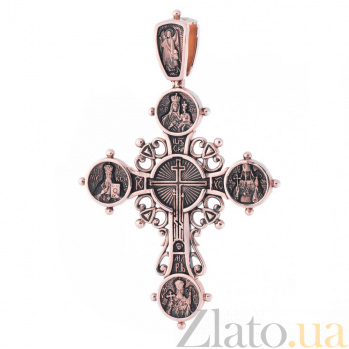 Золотой крест с чернением Богоявление 000020886
