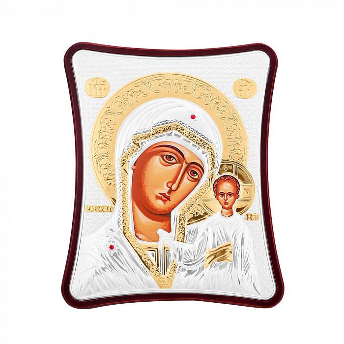 Икона Казанская Божия Матерь с серебрением и позолотой 000123440 000123440