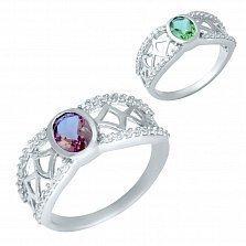Серебряное кольцо Янина с султанитом и фианитами
