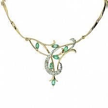 Золотое колье с изумрудами и бриллиантами Аэлита