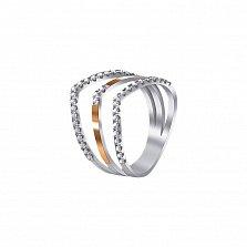Серебряное кольцо Тройная линия с золотыми накладками и имитацией камней