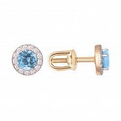 Серьги в красном золоте Элис с  голубым топазом и фианитами