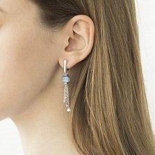 Серебряные серьги-подвески Архелия с голубыми улекситами, белыми фианитами и кисточками из цепочек