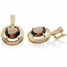 Золотые серьги Таира с раухтопазом и бриллиантами