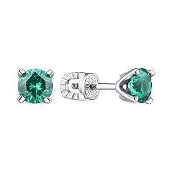 Серебряные серьги-пуссеты с синтезированным зеленым кварцем 000149214