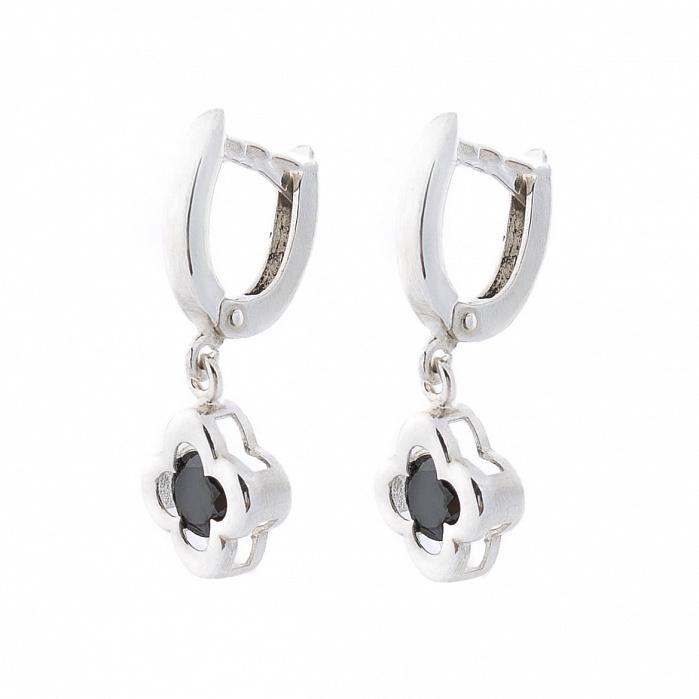 Серебряные серьги-подвески Медина с черным цирконием 000080194