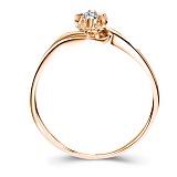 Золотое кольцо в красном цвете с бриллиантом Счастливая жизнь, 3,6мм