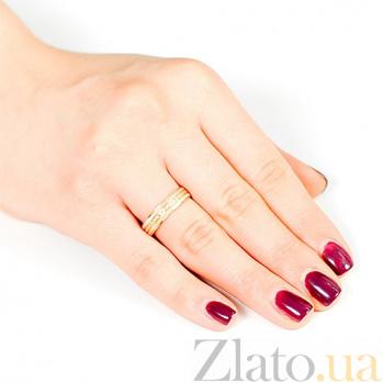 Золотое обручальное кольцо с насечками Пожелание счастья 000001659
