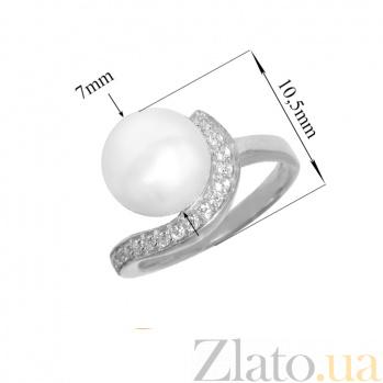 Серебряное кольцо Дар океана с белой жемчужиной и фианитами PTL--7к532/35