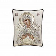 Православная икона Богородица Семистрельная на основе под дерево, гальванопластика, 8х9см