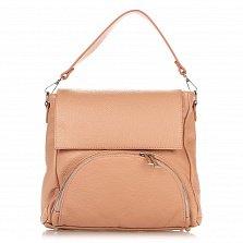 Кожаная сумка на каждый день Genuine Leather 8973 пудрового цвета с накладным карманом на молнии