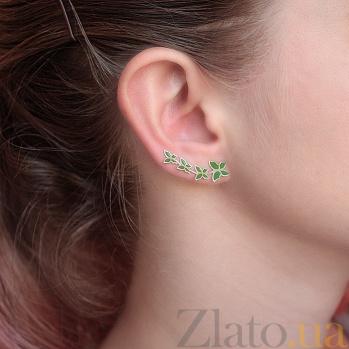 Серебряные каффы Стайка бабочек с зеленой эмалью 000070787
