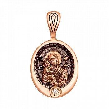 Ладанка из красного золота Божия Матерь Владимирская с бриллиантом и чернением 000136343