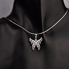 Серебряный кулон Ажурная бабочка с фианитами