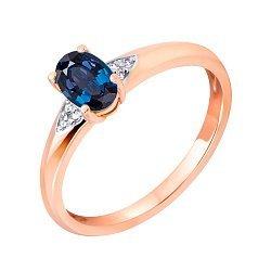 Кольцо в красном золоте Скарлетт с сапфиром и бриллиантами