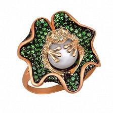 Кольцо из красного золота Царевна-лягушка с жемчужиной и фианитами