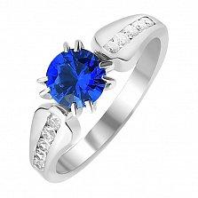 Серебряное кольцо Мирасей с синей шпинелью и белыми фианитами