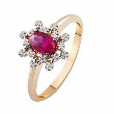 Золотое кольцо с рубином и бриллиантами Афина