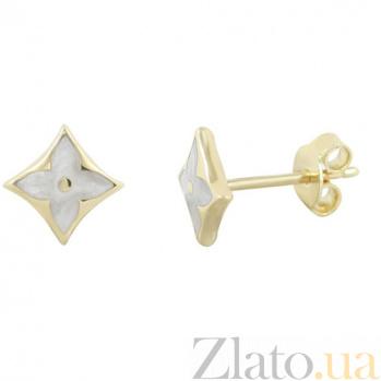Золотые серьги-пуссеты с белой эмалью Удача 000026583