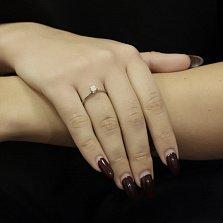 Золотое помолвочное кольцо Идеальное признание в белом цвете с бриллиантом