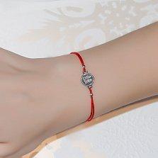 Шелковый браслет Иероглиф Удача с серебряной вставкой
