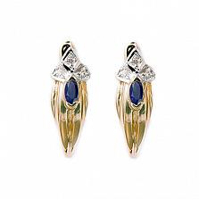 Золотые серьги с бриллиантами и сапфирами Грац
