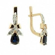 Золотые серьги с бриллиантами и сапфирами Мериса