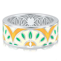Обручальное кольцо из белого золота с эмалью Талисман: Мира 000009951