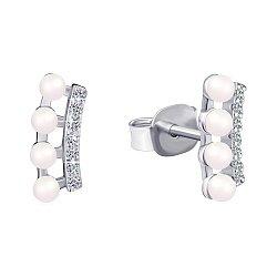Серебряные серьги Сальма с фианитами  000047453