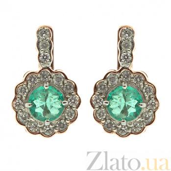 Золотые серьги с бриллиантами и изумрудами Пирра ZMX--EE-6289\1_K
