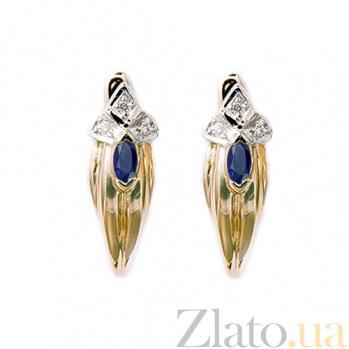 Золотые серьги с бриллиантами и сапфирами Грац ZMX--BLS-7005_K