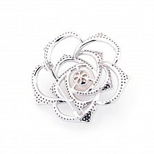 Серебряная брошь Чайная роза с жемчугом и фианитами