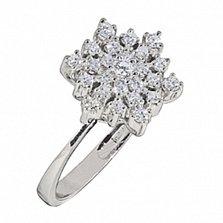 Кольцо из белого золота с бриллиантами Снежинка